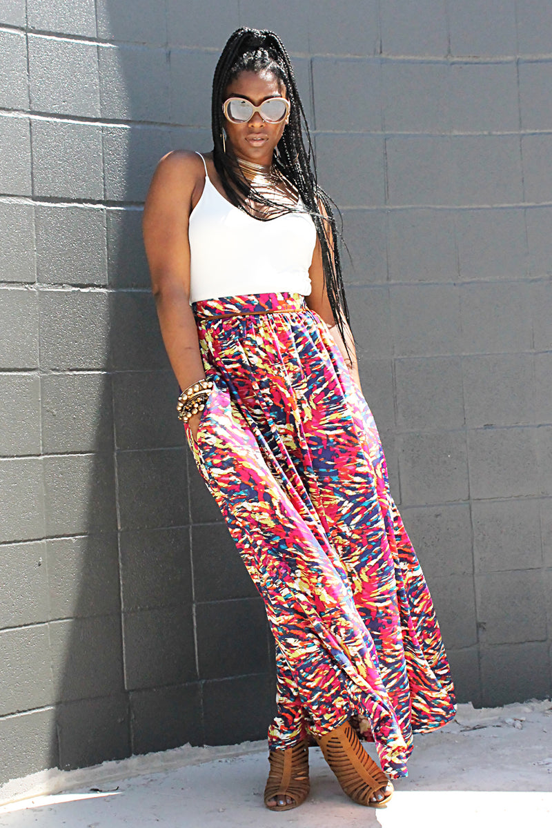 WILD IRIS MAXI SKIRT W/ POCKETS