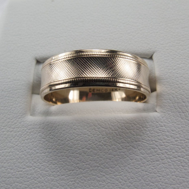 1950s Textured 14kt Gold Ring