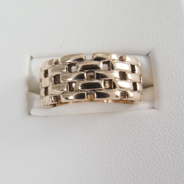 Brick Pattern 14kt Yellow Gold RIng
