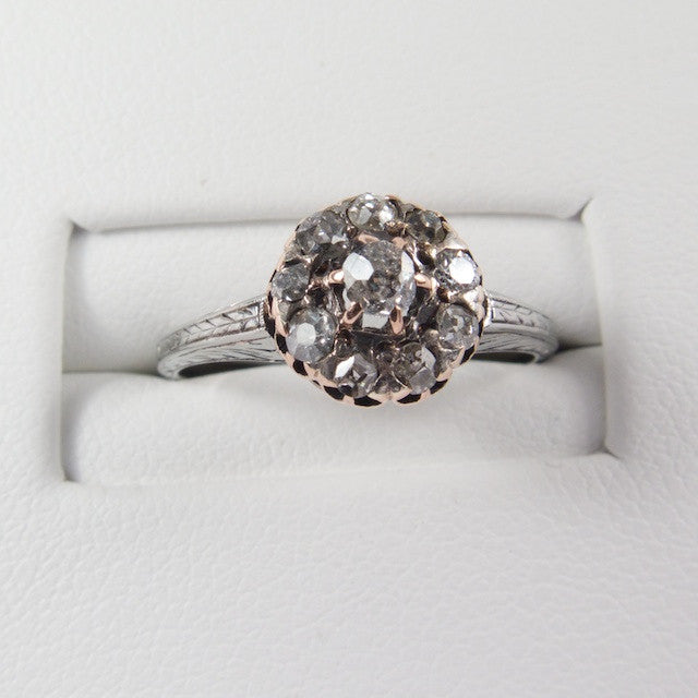 Victorian Engraved Diamond Cluster Ring