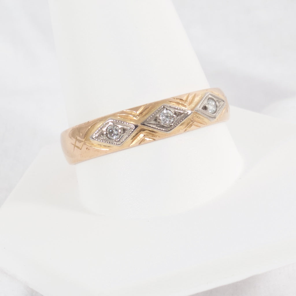 Antique Swedish 20kt Gold Band with Diamonds - Rhinestone Rosie