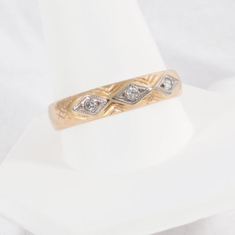 Antique Swedish 20kt Gold Band with Diamonds