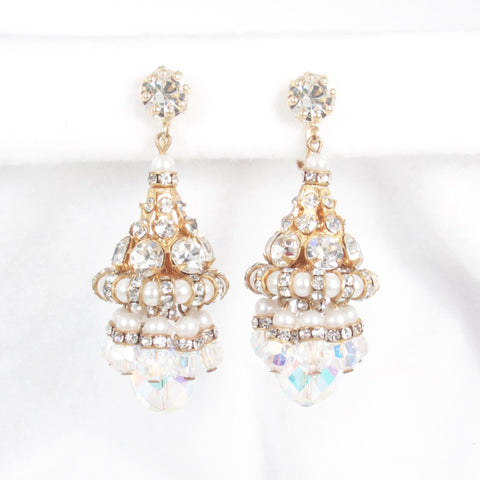 Aurora Borealis Rhinestone and Pearl Earrings