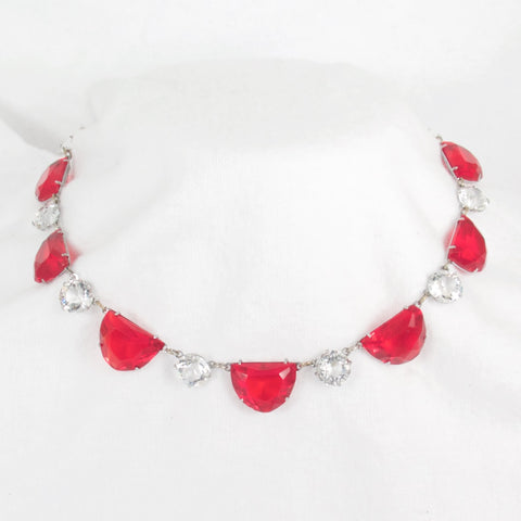 Red and Crystal Art Deco Necklace