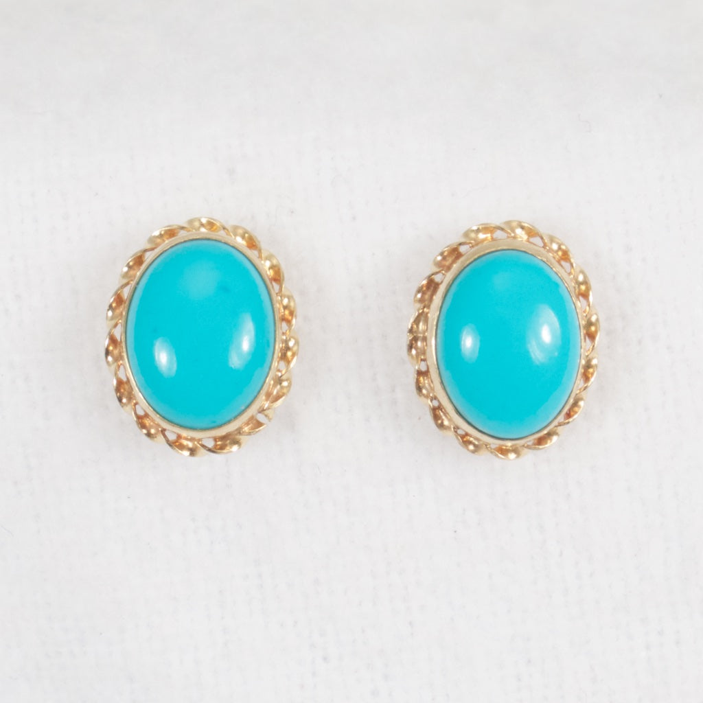 Turquoise Earrings 14kt - Rhinestone Rosie
