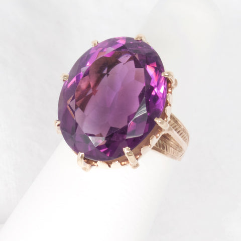 Amethyst Ring in Engraved 14kt Gold Setting