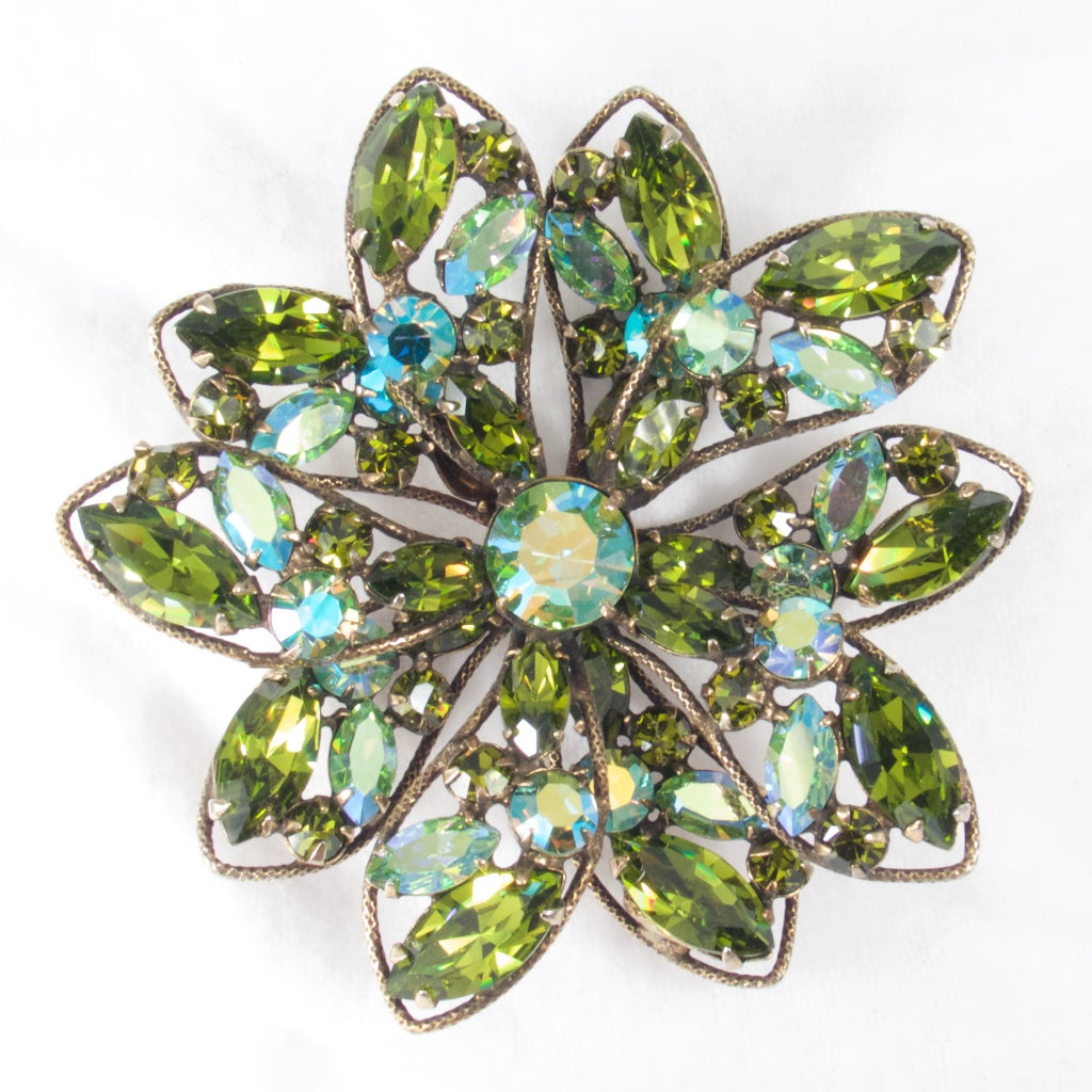 Green Regency Brooch - Rhinestone Rosie