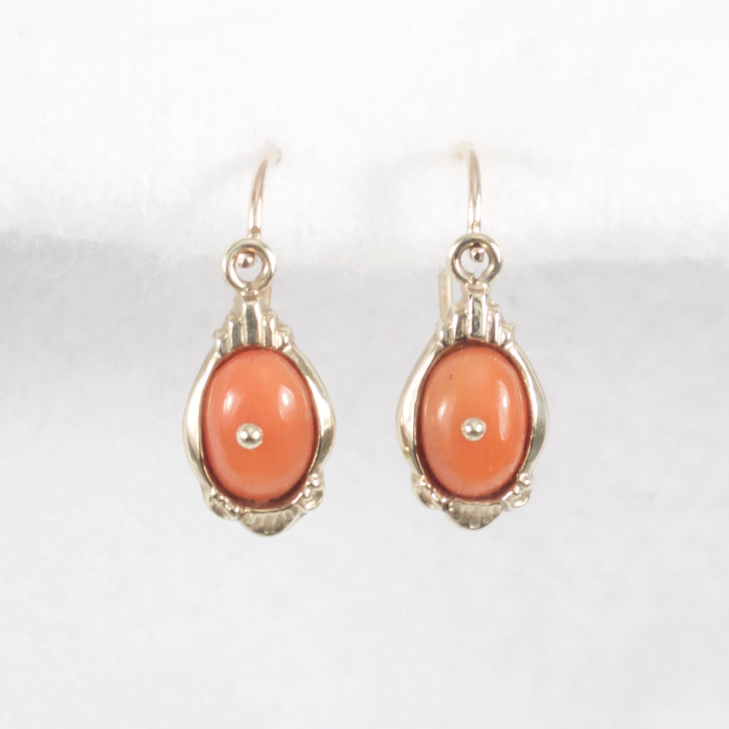 Victorian Coral Earrings - Rhinestone Rosie