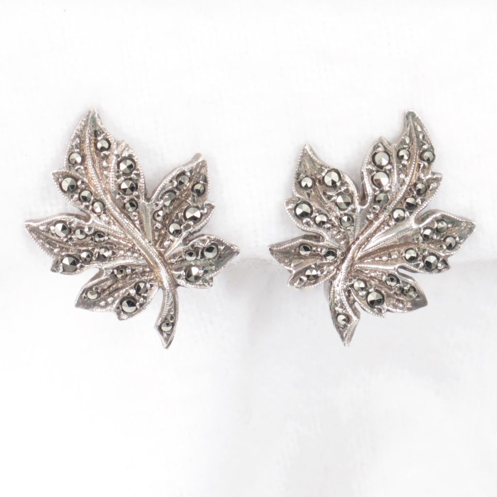 Marcasite Leaf Earrings - Rhinestone Rosie
