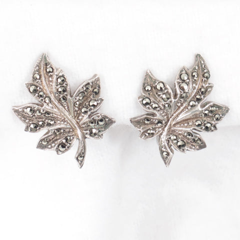 Marcasite Maple Leaf Earrings