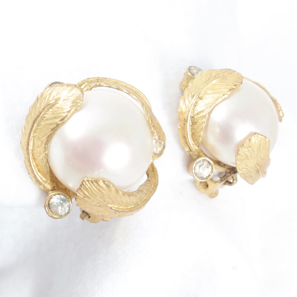 Chanel Pearl and Feather Earrings - 1950s - Rhinestone Rosie