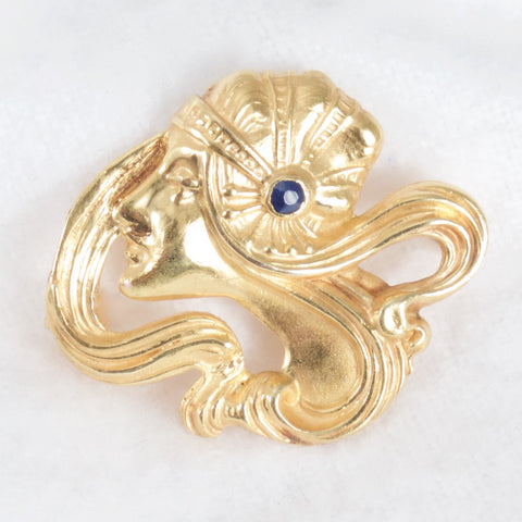 Art Nouveau Woman Brooch