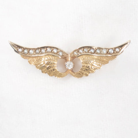 Diamond and Pearl Wing Brooch