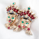 Coro Craft King and Queen Duette Brooch - Rhinestone Rosie