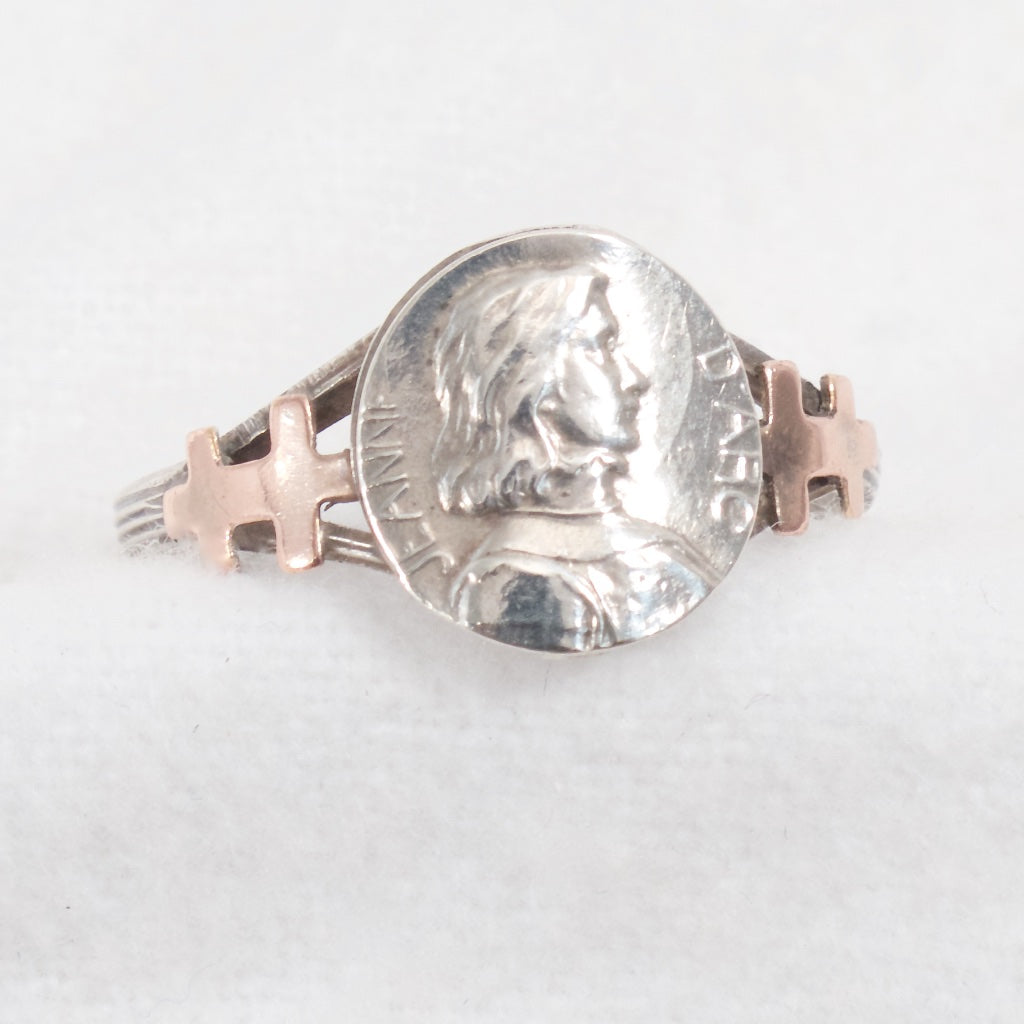 Joan of Arc Cameo Ring Sterling and Gold - Rhinestone Rosie