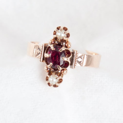 Victorian Garnet and Pearl Ring
