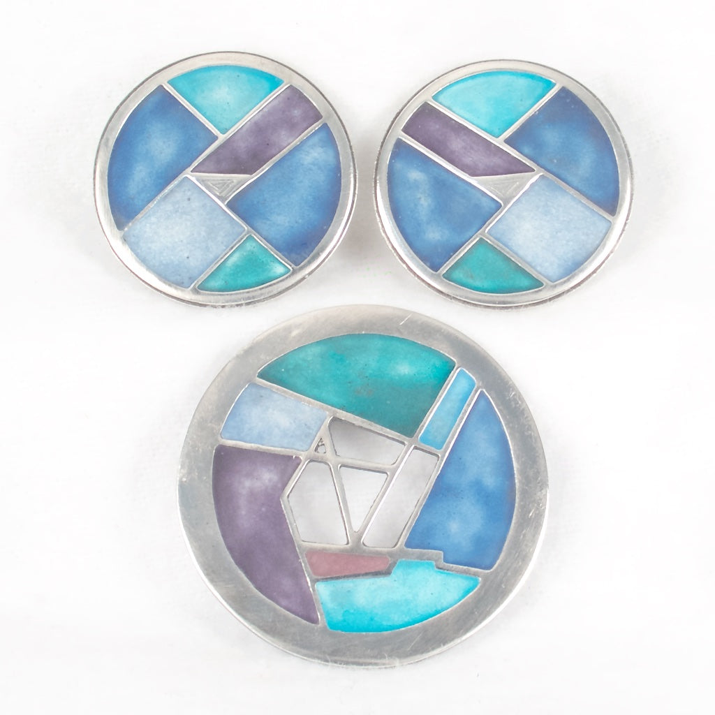 Carly Wright Enamel Brooch and Earring Set -  Rhinestone Rosie