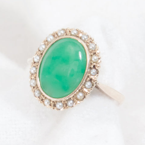 Jadeite with Pearl Halo Antique Ring