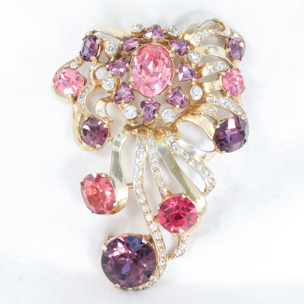 Eisenberg Sterling Fur Clip Pink and Purple - Rhinestone Rosie