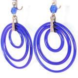 Art Deco Blue Glass Circle Earrings  - rhinestone rosie