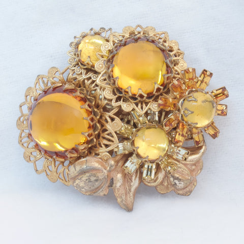 MIriam Haskell Topaz Glass Flower Brooch