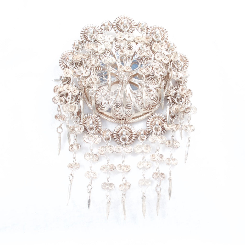 Antique Solje Filigree Brooch Christiana 1890- Rhinestone Rosie