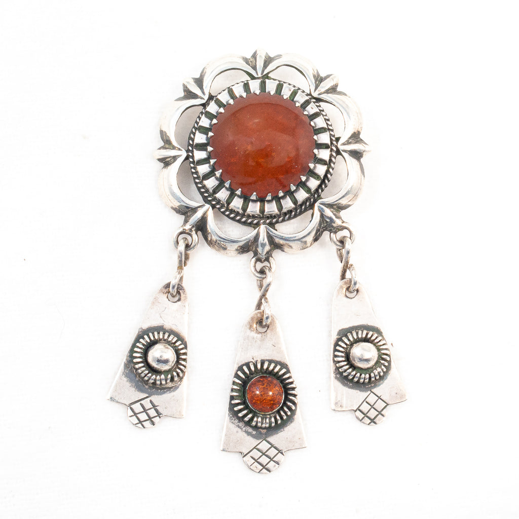 Vintage Baltic Amber and Sterling Dangle Latvian Sun Brooch - Rhinestone Rosie
