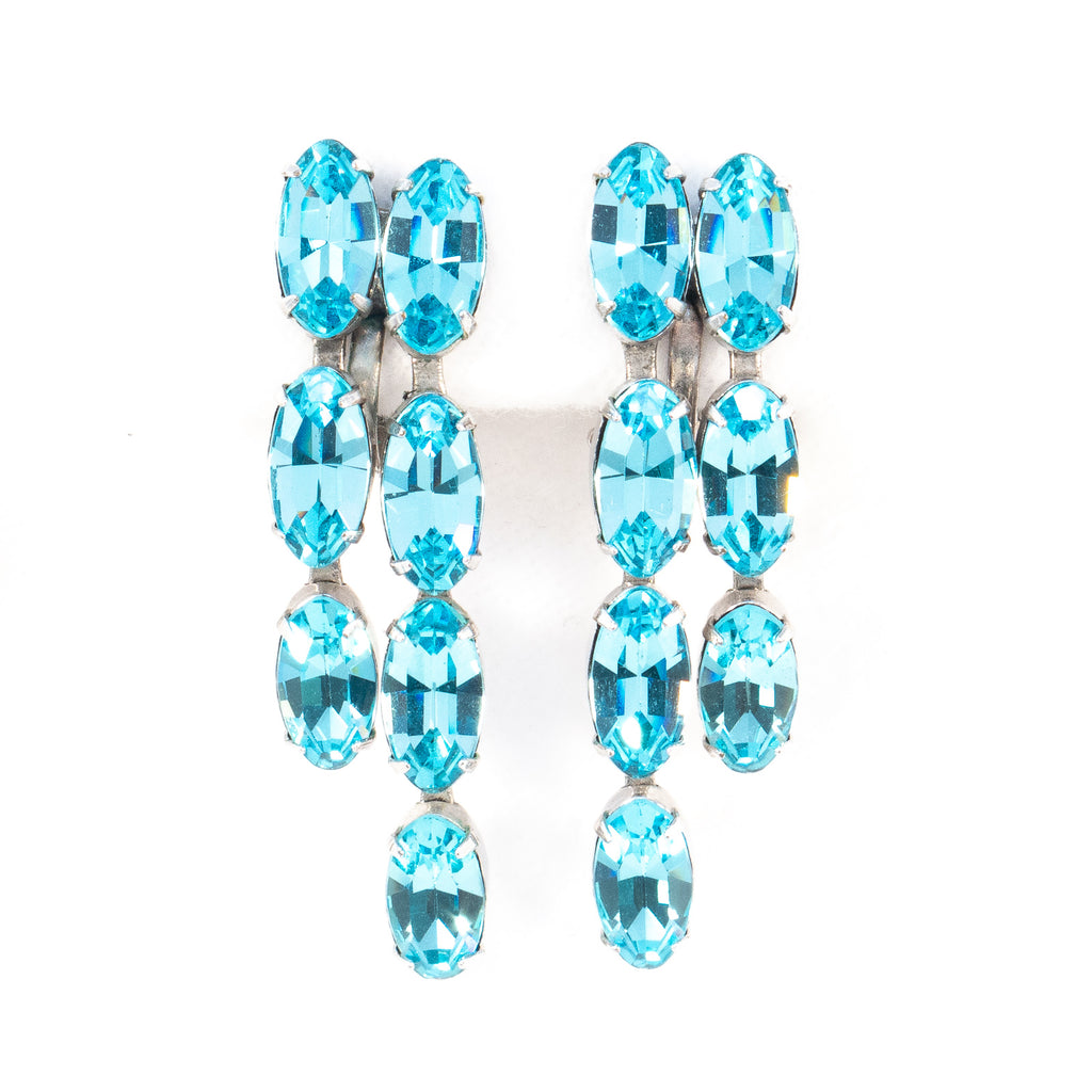 Aqua Rhinestone Vintage Earrings - Rhinestone Rosie