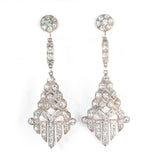 Art Deco Rhinestone Pave Geometric Dangle Earrings - Rhinestone Rosie