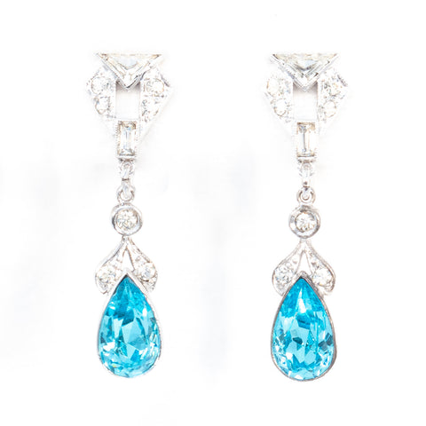 Blue Rhinestone Sterling Silver Dangle Earrings