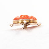 Carved Coral Flower Brooch with Pearls - Rhinestone Rosie