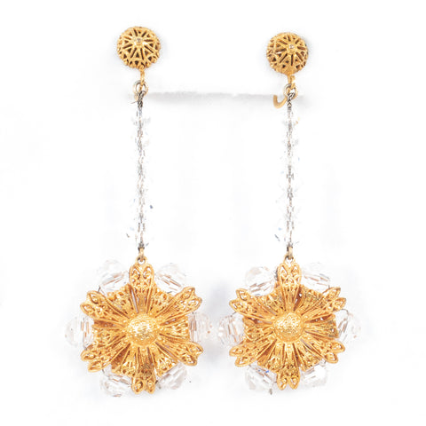 Filigree Flower Crystal Dangle Earrings