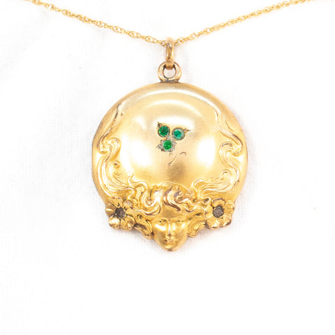 Art Nouveau Lady and Clover Locket