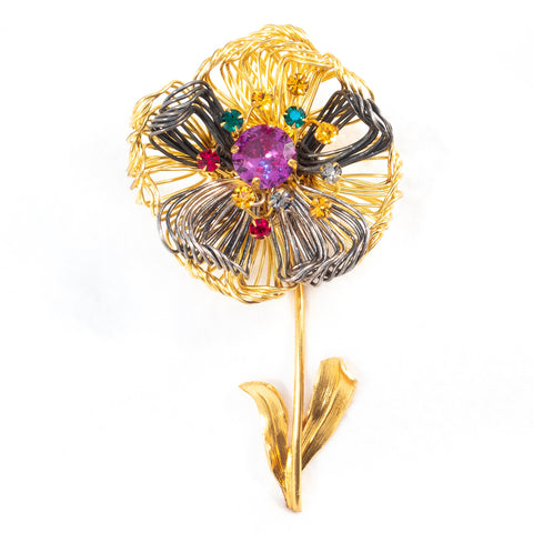 French Flower Fur Clip
