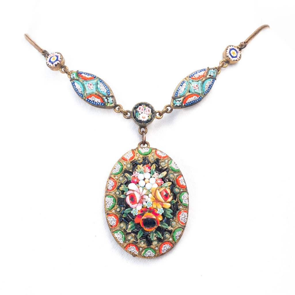 Mosaic Necklace Floral Pendant Italian 1940s Vintage- Rhinestone Rosie