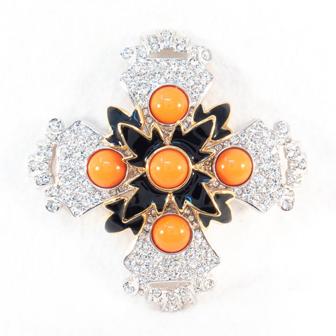 KJL Coral Maltese Cross Brooch