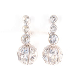 Rhinestone Pave Ball Earrings vintage clip on - Rhinestone Rosie