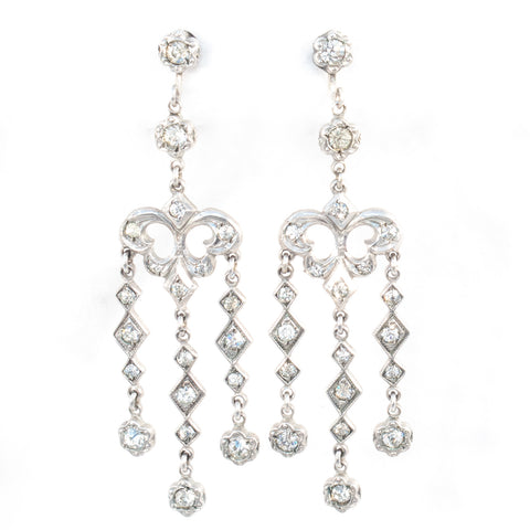 Art Deco Sterling Rhinestone Earrings