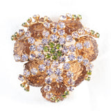 Schreiner New York Flower Faceted Glass Brooch Vintage - Rhinestone Rosie