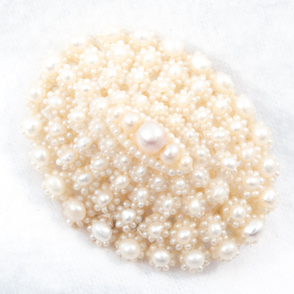 Victorian Seed Pearl  and Mother of Pearl Brooch 1800s- Rhinestone Rosie