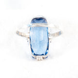 Blue Glass 935 Silver Ring - Rhinestone Rosie