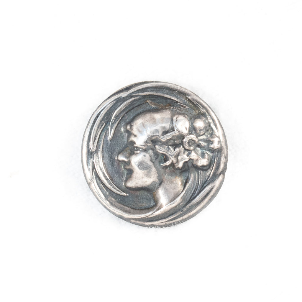 Art Nouveau Sterling Silver Top Woman Cameo Brooch - Rhinestone Rosie