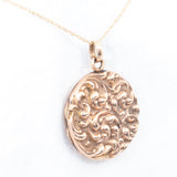 Art Nouveau Swirling Embossed Locket - Rhinestone Rosie