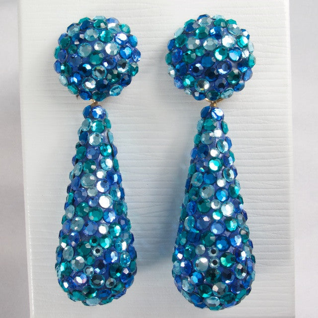Richard Kerr 1980s Blue Crystal Dangle Earrings