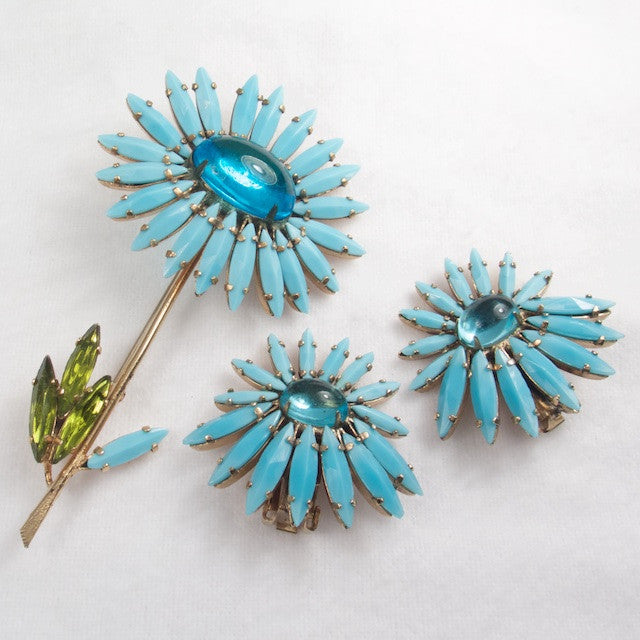 Schreiner Flower Turquoise Rhinestone Brooch and Earring Set