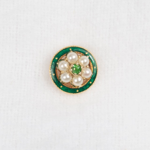 Emerald and Pearl Enamel 14kt Stickpin