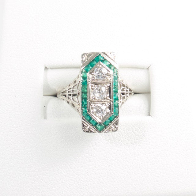 Emerald and Diamond Art Deco Filigree Ring