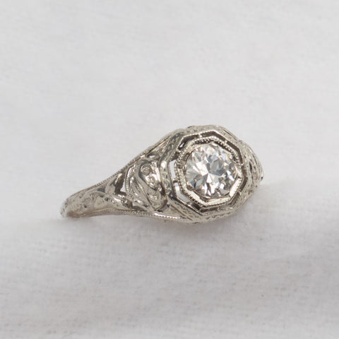 Art Nouveau Filigree Diamond Solitaire