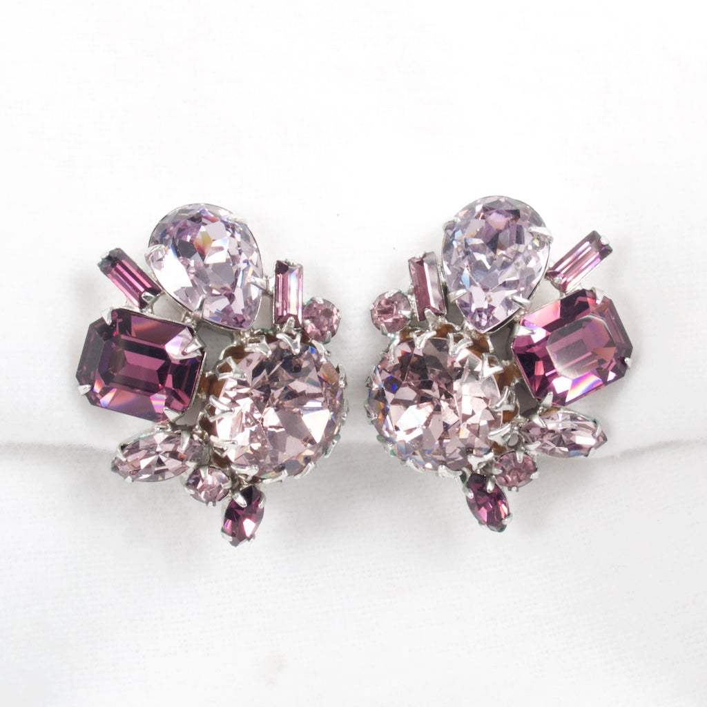 Lavender and Purple Rhinestone Earrings