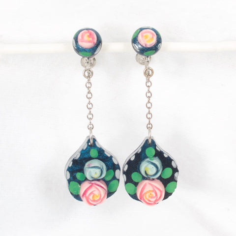 1930s Celluloid Flower Earrings
